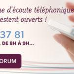 Pendant tout l'été, la ligne d'écoute téléphonique et le forum restent ouverts !